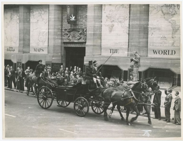 An original wartime press photograph of Prime Minister Winston S. Churchill and his family in a horse-drawn carriage after receiving the Honorary Freedom of the City of London on 30 June 1943
