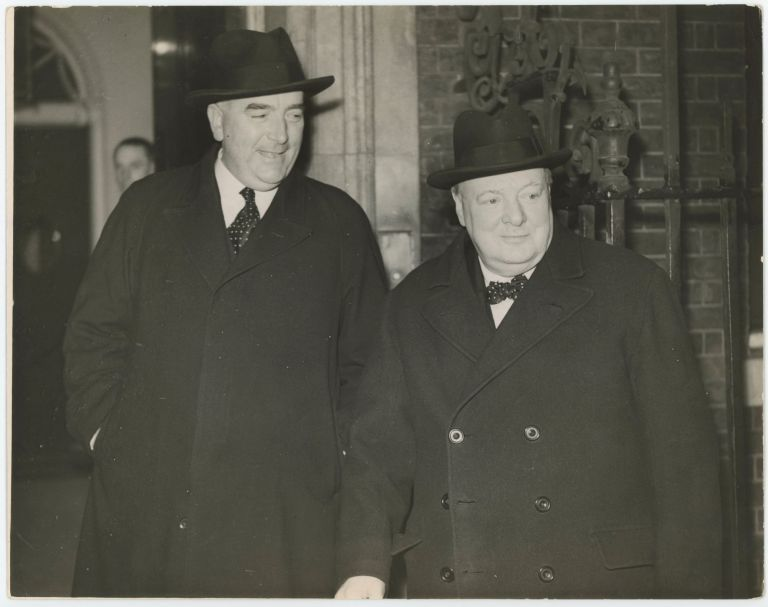 An original wartime press photograph of British Prime Minister Winston S. Churchill and Australian Prime Minister Robert Menzies at 10 Downing Street in February 1941, reportedly the first image captured of the two men together