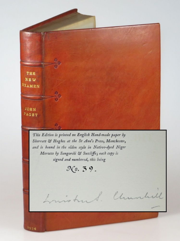 The New Examen, the publisher's Limited Edition, signed by Winston Churchill, bound by Sangorski & Sutcliffe, copy 39 of 50. John Paget, a Critical, Winston S. Churchill.