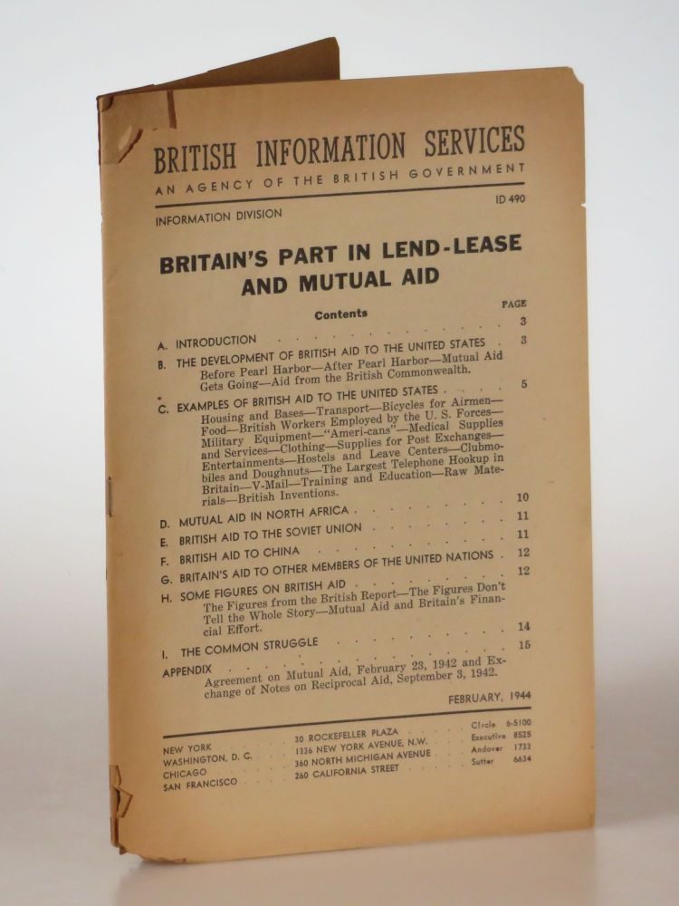 Britain's Part In Lend-Lease and Mutual Aid. British Library of Information.