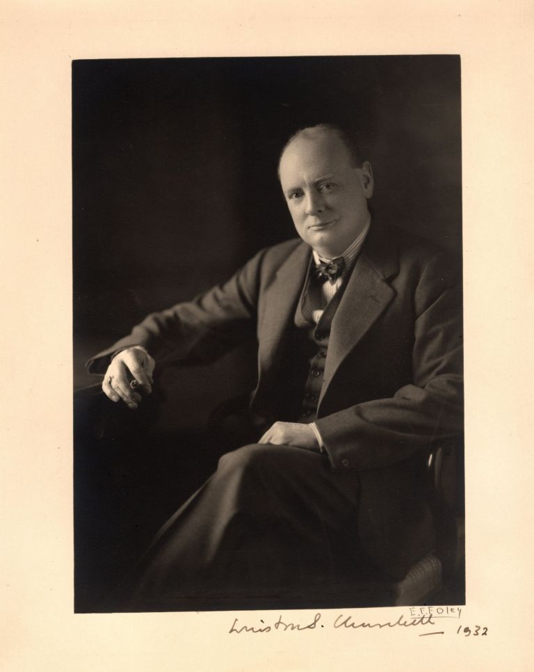 Original studio print of a photograph of Winston S. Churchill taken by Edward Frederick Foley, signed by both Churchill and the photographer in 1932. Edward Frederick Foley.
