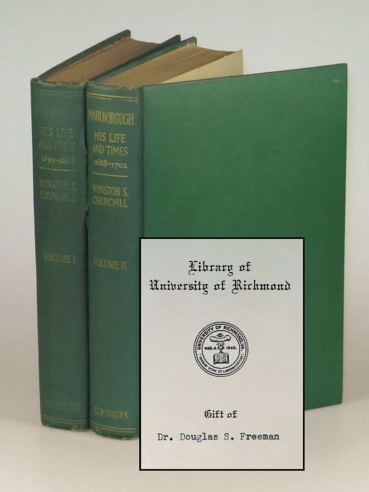 Marlborough: His Life and Times, Volumes I & II, owned and donated by eminent U.S. historian Douglas Southall Freeman. Winston S. Churchill.