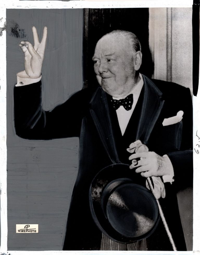 An original press photograph of Sir Winston S. Churchill in his final hours as Prime Minister,...