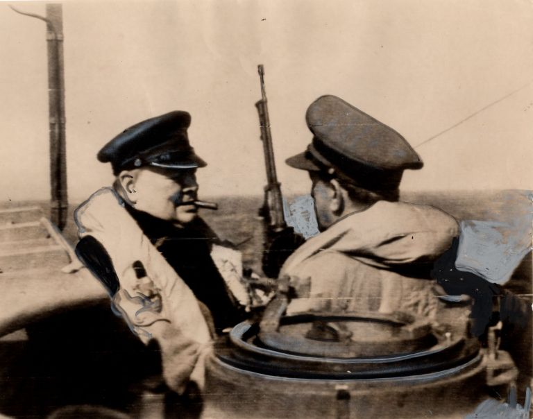 An original wartime press photograph of Prime Minister Winston S. Churchill with Chief of the...