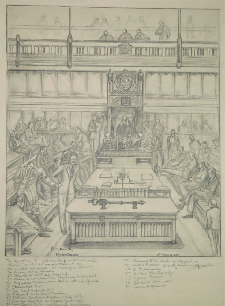 A large, original pencil sketch capturing the House of Commons on 1 March 1955, the day of Sir Winston S. Churchill's last major speech as Prime Minister, signed by future Prime Minister Harold Macmillan and depicting an array of prominent political figures, including Churchill and other past and future Prime Ministers. Miriam Cozens.