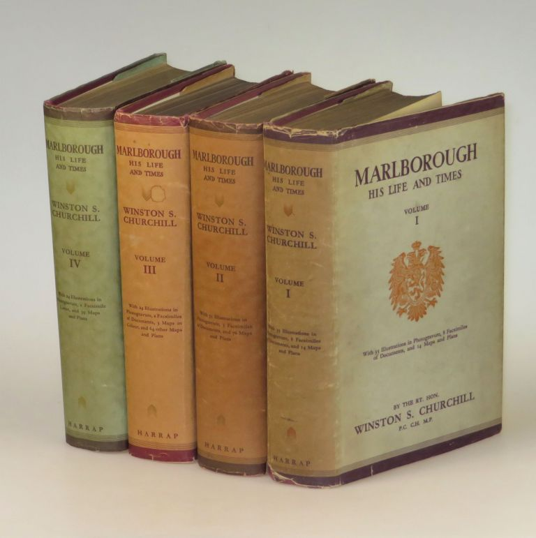 Marlborough: His Life and Times, full set of four British first edition, first printings in dust jackets, each volume housed in a full crimson morocco Solander case. Winston S. Churchill.