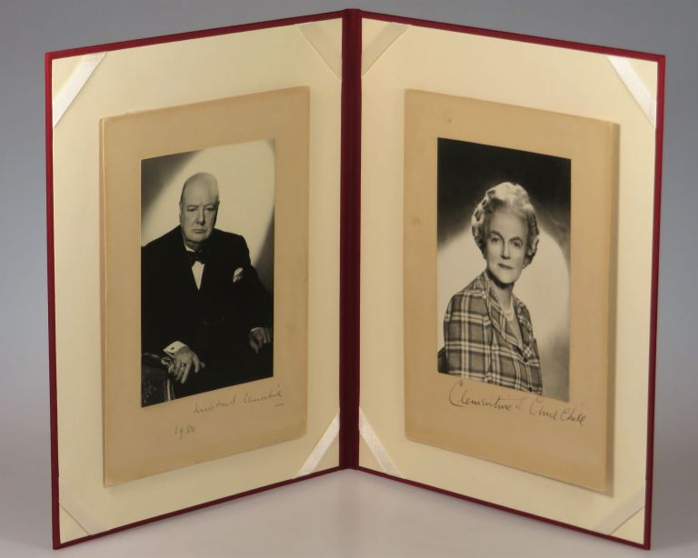 A striking pair of original photographic studio portraits by Vivienne of both Winston S. Churchill and his wife, Clementine, signed and dated by Winston and signed by Clementine, Winston's photograph disproving the common notion that it was captured in 1951. Vivienne, nee Mellish Florence Vivienne Entwistle.