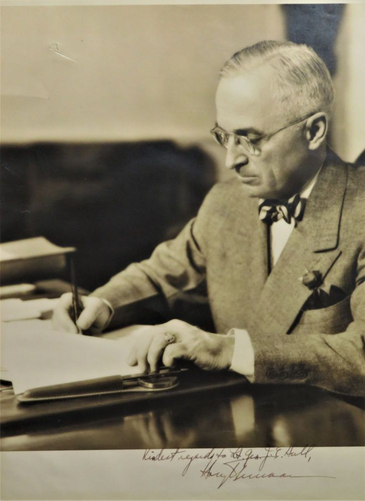A large, signed photographic portrait of President Harry S. Truman inscribed to one of his Second World War Generals