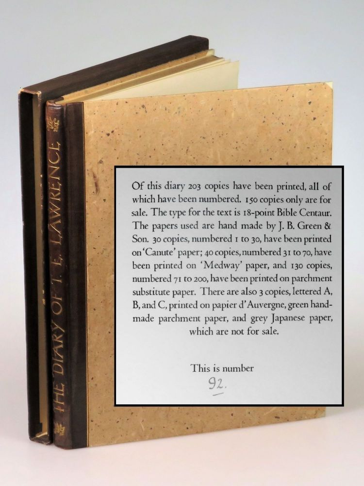The Diary of T. E. Lawrence, copy #92 of the extraordinary limited edition. T. E. Lawrence.
