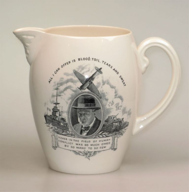 Wartime pitcher featuring an image of and quotes by Prime Minister Winston S. Churchill