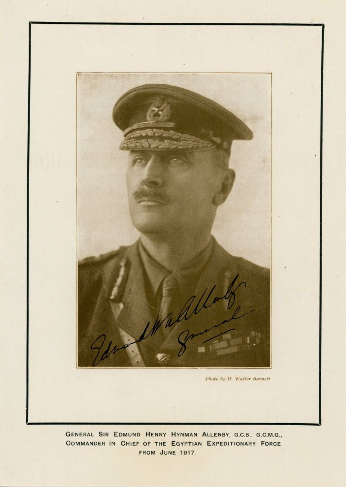 A 1917 portrait photograph of General Edmund H. Allenby, signed by Allenby, accompanied by images of the capture of Jerusalem under Allenby's command. Photographer: H. Walter Barnett.