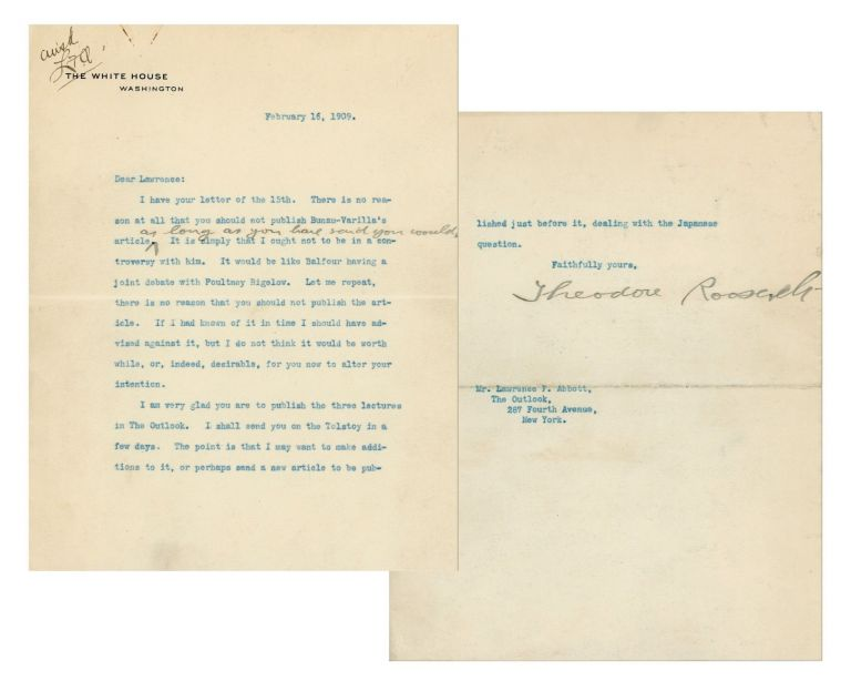 16 February 1909 typed signed letter on White House stationery from President Theodore Roosevelt to his friend and editor, Lawrence F. Abbott, touching on the murky political machinations that gave birth to the Panama Canal, a colorful personality integral to that drama, and Roosevelt's imminent post-presidential future as a contributing writer to The Outlook. President Theodore Roosevelt.