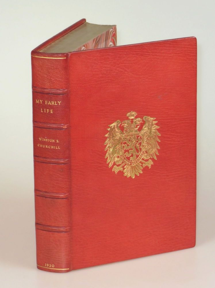 My Early Life, finely bound in full Niger Morocco for Henry Sotheran, Ltd. Winston S. Churchill.