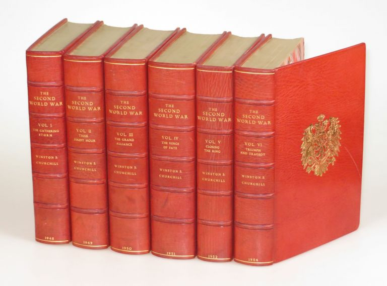 The Second World War, full set of six British first editions finely bound in full Niger Morocco for Henry Sotheran Ltd. Winston S. Churchill.