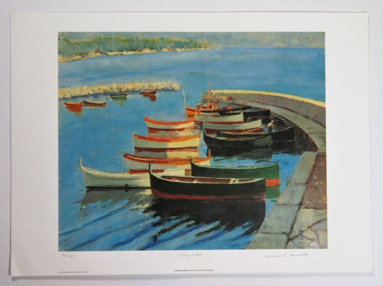 A Study of Boats, a limited and numbered lithograph reproduction of Churchill's c.1933 painting. Artist: Winston S. Churchill.