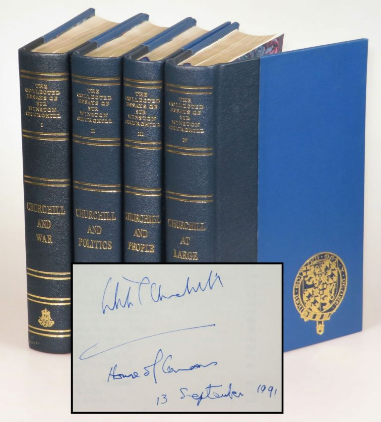 The Collected Essays of Sir Winston Churchill in four volumes, signed and dated in the House of Commons by Winston Churchill's namesake grandson. Winston S. Churchill.