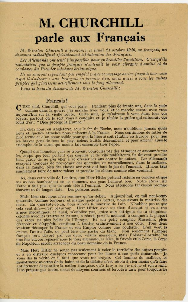Churchill's 21 October 1940 broadcast address to the French people - the bibliographically unrecorded French language edition. Winston S. Churchill.