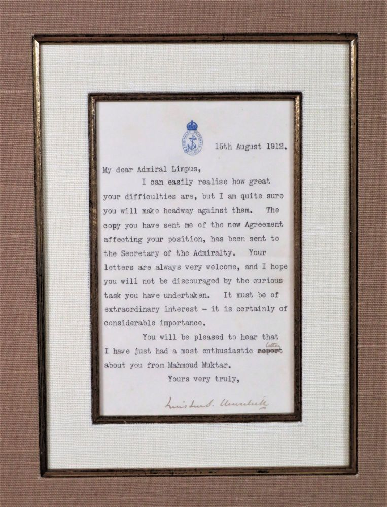 A handsomely framed 15 August 1912 typed, hand-emended, and signed letter from then-First Lord of the Admiralty Winston S. Churchill to his newly-appointed Naval Advisor to the Ottoman Empire, British Rear-Admiral Arthur Limpus. Winston S. Churchill.