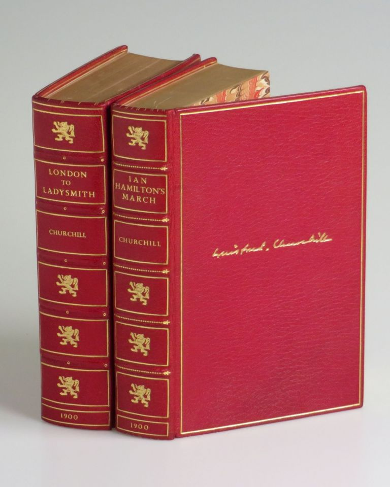 London to Ladysmith via Pretoria and Ian Hamilton's March - Churchill's two books about his famously dramatic Boer War experience, each volume bound in matching full red Morocco goatskin by Bayntun-Riviere. Winston S. Churchill.