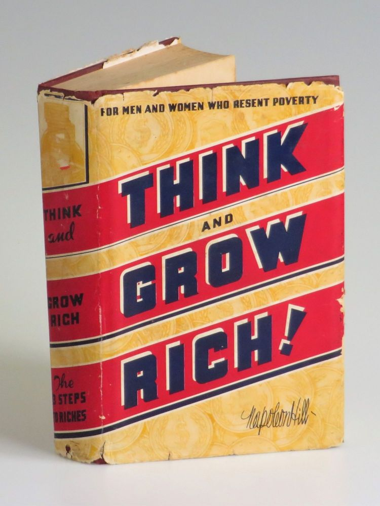 Think and Grow Rich, accompanied by a contemporary publisher's promotional leaflet. Napoleon Hill.