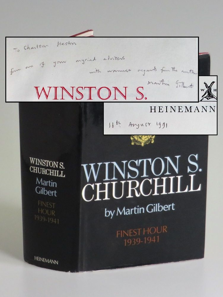 Winston S. Churchill, The Official Biography, Volume VI, Finest Hour, 1939-1941, a presentation copy inscribed and dated by the author to legendary actor and activist Charlton Heston. Martin Gilbert.