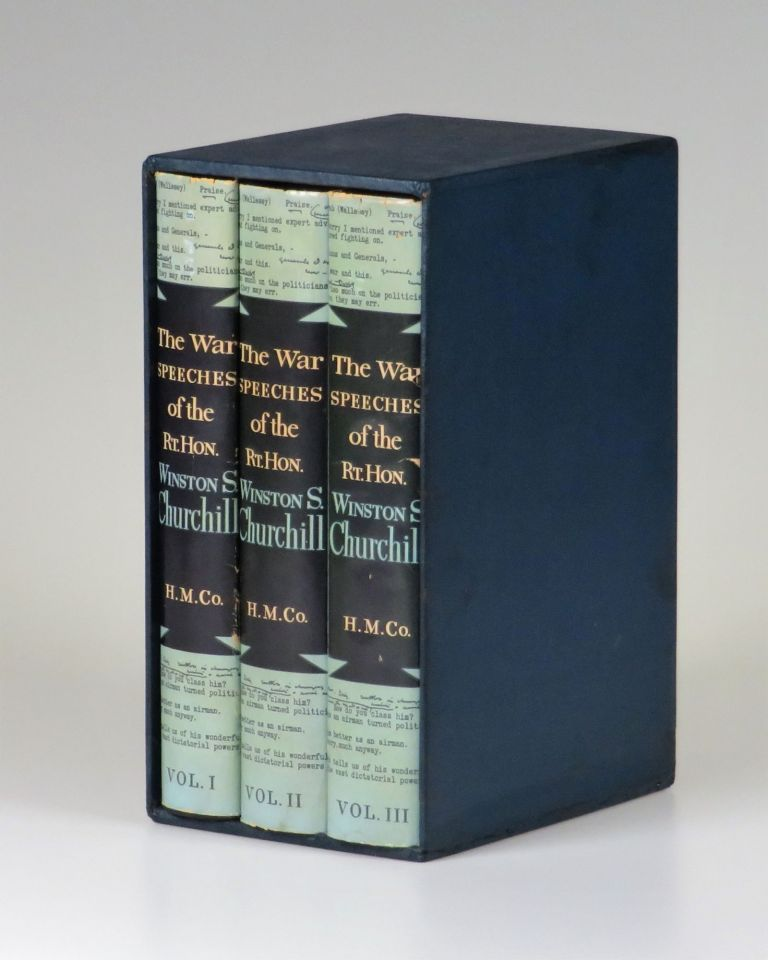 """The War Speeches of the Rt. Hon. Winston S. Churchill, the exceptionally scarce U.S. issue of the three-volume """"definitive"""" edition published during Churchill's second and final premiership. Winston S. Churchill."""