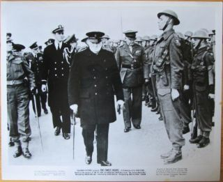 "Promotional photo for 1964 film documentary ""The Finest Hours"" - Winston Churchill inspecting Troops"