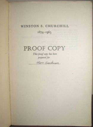 Winston S. Churchill, The Official Biography, Volume I, Youth 1874-1900, PROOF COPY. Randolph S....