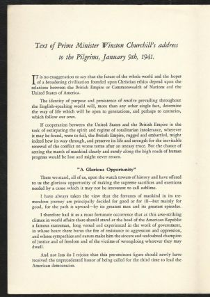 Speech by the Prime Minister Mr. Winston Churchill to the Pilgrims, January 9, 1941