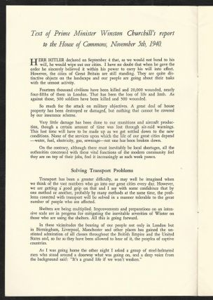 Speech by The Prime Minister Mr. Winston Churchill On War Problems Facing Britain Delivered in the House of Commons, November 5, 1940