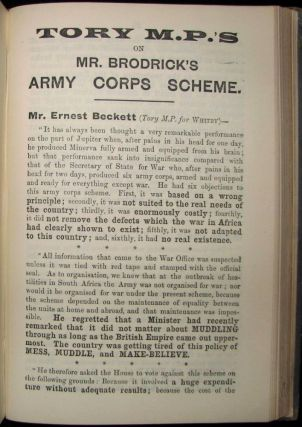 Tory M.P.'s on Mr. Brodrick's Army Corps Scheme, bound in Pamphlets & Leaflets for 1903, Being the Publications for the Year of the Liberal Publication Department