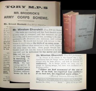 Tory M.P.s on Mr. Brodrick's Army Corps Scheme, bound in Pamphlets & Leaflets for 1903, Being the Publications for the Year of the Liberal Publication Department