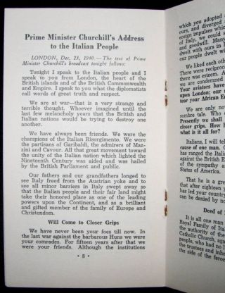 Prime Minister Churchill's Address to the Italian People December 23rd 1940 together with the Christmas Day Message from His Majesty King George VI to His People Broadcast December 25th, 1940 and the Christmas Day Message from Prime Minister Mackenzie King to the Canadian Army Abroad and At Home