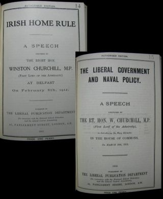 Two speech pamphlets: Irish Home Rule delivered 8 February 1912 and The Liberal Government and...
