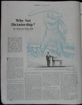 """Why Not Dictatorship?"" by Winston Churchill in Collier's, 16 February 1935"
