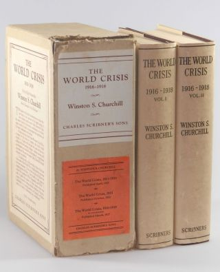 The World Crisis, 1916-1918, Volumes I & II, immaculate jacketed first editions in the very rare publisher's slipcase