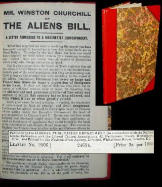 Mr. Winston Churchill on the Aliens Bill. Winston S. Churchill