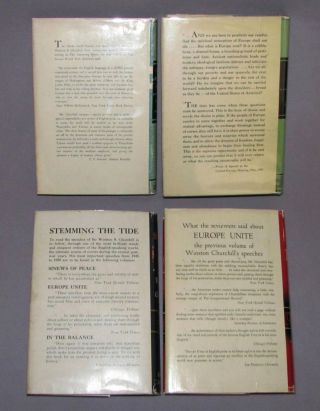 The Post-War Speeches - a full set of jacketed U.S. first editions: The Sinews of Peace, Europe Unite, In the Balance, Stemming the Tide