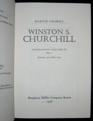 Winston S. Churchill, The Official Biography, Companion Volume IV, Parts 1, 2 & 3, January 1917 - November 1922