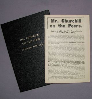 Mr. Churchill on the Peers. Winston S. Churchill.