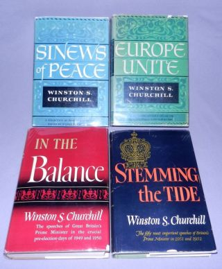 The Post-War Speeches, a full set of jacketed U.S. first editions: The Sinews of Peace, Europe...