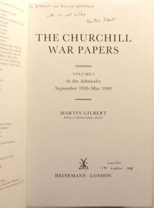 Winston S. Churchill, The Official Biography, The War Papers, Volume 1, At the Admiralty, September 1939 - May 1940, Inscribed and dated by the author