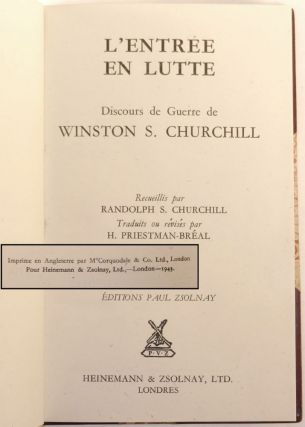 L'Entree En Lutte (Into Battle), inscribed and dated by Churchill to Charles Montag