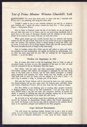 Speech Broadcast by The Prime Minister Mr. Winston Churchill to the People of France, October 21, 1940