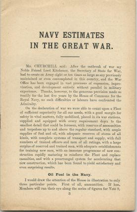 Navy Estimates in The Great War, A Speech Delivered by the Right Hon. Winston S. Churchill, M.P. in the House of Commons on February 15th, 1915