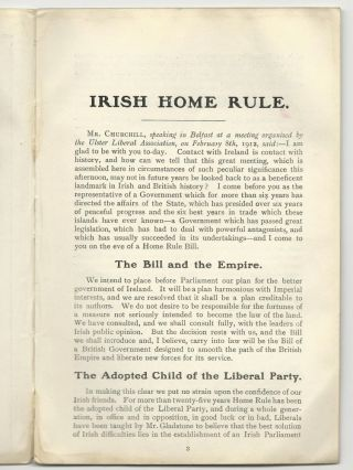 Irish Home Rule, A Speech Delivered By The Right Hon. Winston Churchill, M.P. (First Lord of the Admiralty) At Belfast On February 8th, 1912