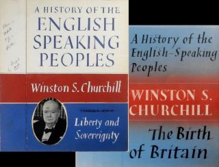 Original, hand-painted dust jacket design concepts for the first and second volumes of Winston...