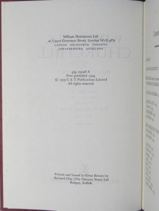 Winston S. Churchill, The Official Biography, Companion Volume V, Part 1, The Exchequer Years 1922 - 1929, with two typed and signed letters by the author to his proof reader