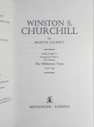 Winston S. Churchill, The Official Biography, Companion Volume V, Part 2, The Wilderness Years 1929 -1935