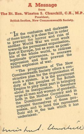 A Message from the Rt. Hon. Winston S. Churchill, C.H., M.P. President, British Section, New...